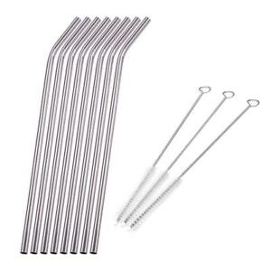 8X-Stainless-Steel-Metal-Drinking-Straw-Reusable-Straws-Cleaner-Brush-Kit-Silver