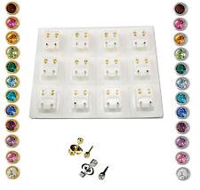 Ear Piercing Studs Earrings Certified Sterile Bezel Children's Crystal Studs