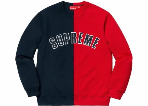 SUPREME Split Crewneck Black White Red Blue M box logo camp cap tnf F//W 18