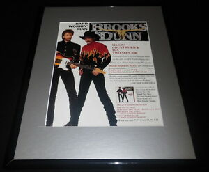 Brooks-amp-Dunn-1993-Hard-Workin-Man-Framed-11x14-ORIGINAL-Vintage-Advertisement