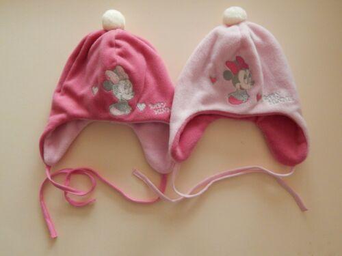 Disney Minnie süße weiche Baby Fleece Mütze mit Bindeband Gr 42 44 46 cm