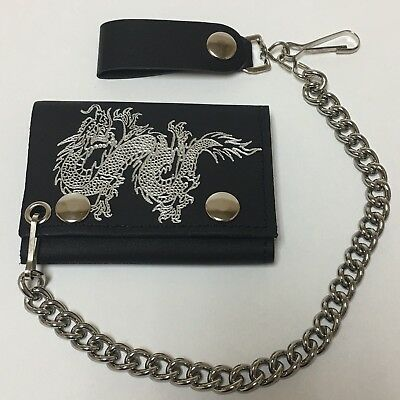 EMBROIDERED CHINESE DRAGON TRI FOLD BIKER WALLET WITH CHAIN