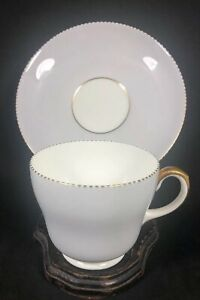 Wedgwood-Grey-April-Colours-bone-china-W4147-Footed-Tea-Cup-amp-Saucer-Gold-12M