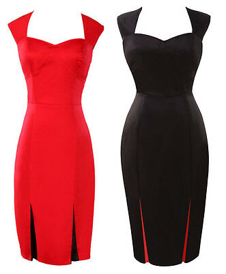 NEW VINTAGE CHIC 1950'S ROCKABILLY RETRO PENCIL WIGGLE PIN UP PARTY DRESS 2COLOR