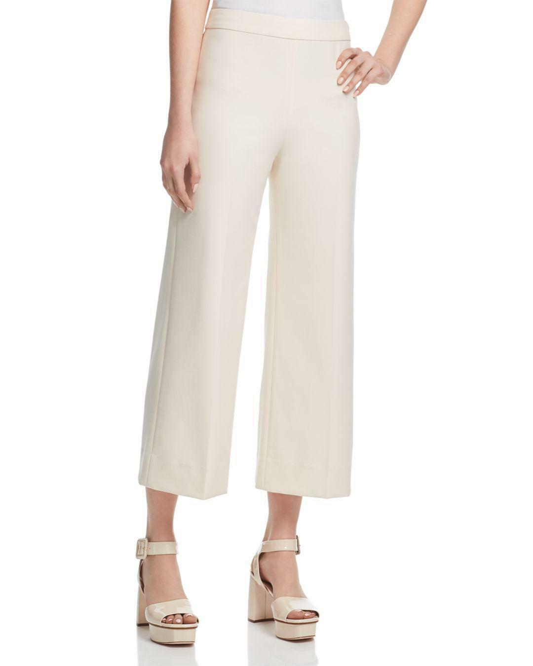 495 REBECCA TAYLOR WOMEN'S BEIGE TAYLOR HIGH-RISE CULOTTES CASUAL PANTS SIZE 8