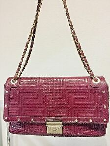 Image is loading Gianni-Versace-Couture-Burgundy-python -design-leather-shoulder- 49abbb2390