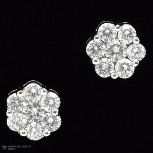 10K Gold Genuine Diamond Round Cluster Studs Earrings .25ct 5MM DEAL of THE DAY