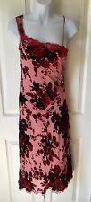 Betsey Johnson Crushed Velvet Pink Red Floral Beaded Silk One Shoulder Dress 4