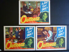 1950 OUTRAGE - 6 LOBBY CARDS : 1 SIGNED BY MALA POWERS - CRIME NOIR - RAPE