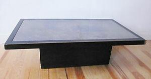 TABLE-BASSE-BOIS-MASSIF-AVEC-MIROIR-TEINTE-ANNEES-70-DESIGN-1970-ERA-WILLY-RIZZO