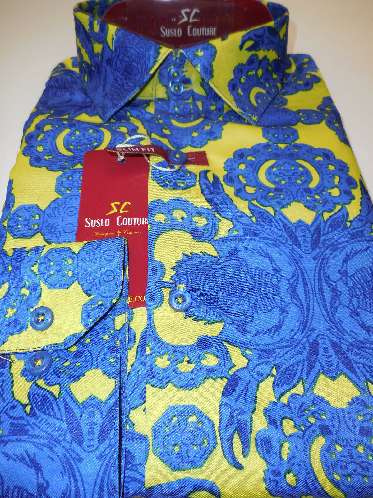 Mens Royal bluee & Neon Medallion Modern Fit Clubbing Shirt Suslo Couture M10