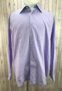 Robert-Graham-Men-039-s-100-Cotton-Lilac-Long-Sleeves-Shirt-Size-XL-44-17-1-2