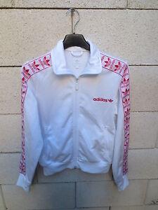 Détails sur Veste ADIDAS rétro vintage TREFOIL femme sport jacket blanc rouge 38