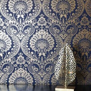 Navy Gold Luxe Damask Wallpaper By Arthouse 910308 Metallic Floral Ebay