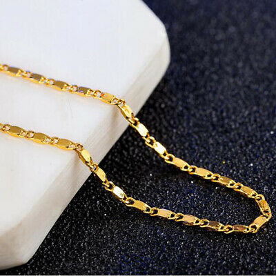 10P 16-18-20-22-24-26-28-30inch 18K Yellow Gold Filled Flat S Chain Necklace TOP