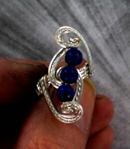LAPIS-LAZULI-GEMSTONE-RING-STERLING-SILVER-SIZE-5-TO-15-WIRE-WRAPPED
