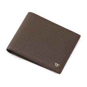New-390-TOM-FORD-Olive-Grained-Leather-Classic-Bifold-Wallet-with-Gold-Logo