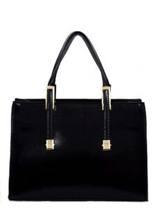 LADIES ELLA BLACK DETACHABLE STRAP ZIP UP STRUCTURED HAND BAG 72782