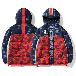 Bape-A-Bathing-Ape-Monkey-Head-Thick-Red-Camo-Men-039-s-Warm-Padded-Jacket-Coats