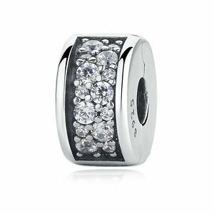 Authentic-925-Sterling-Silver-Clear-CZ-Charm-Shining-Elegance-Clip-Spacer