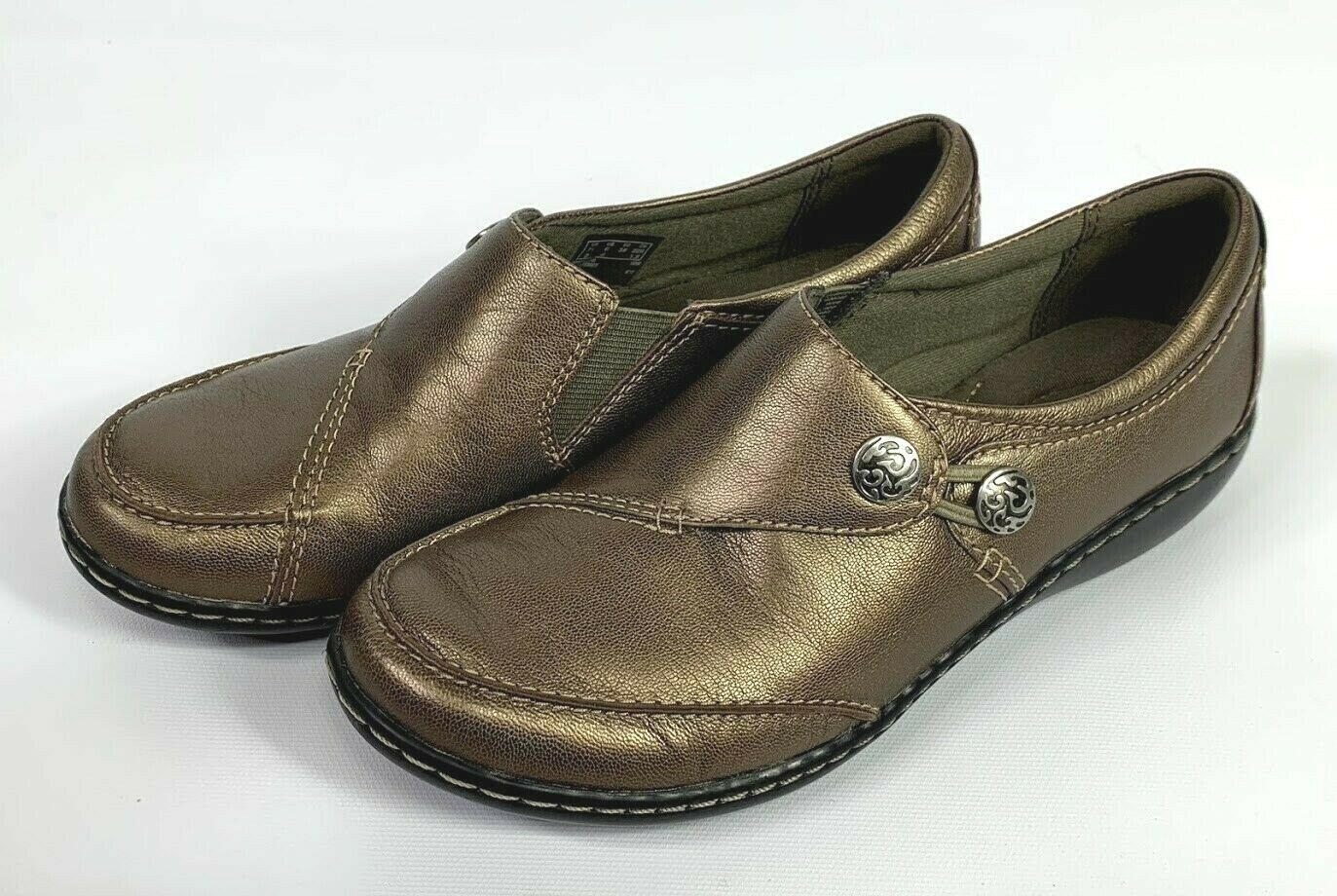 Clarks Ashland Lane Women's Slip On Flat Loafers Pewter Size 6 M NWOB