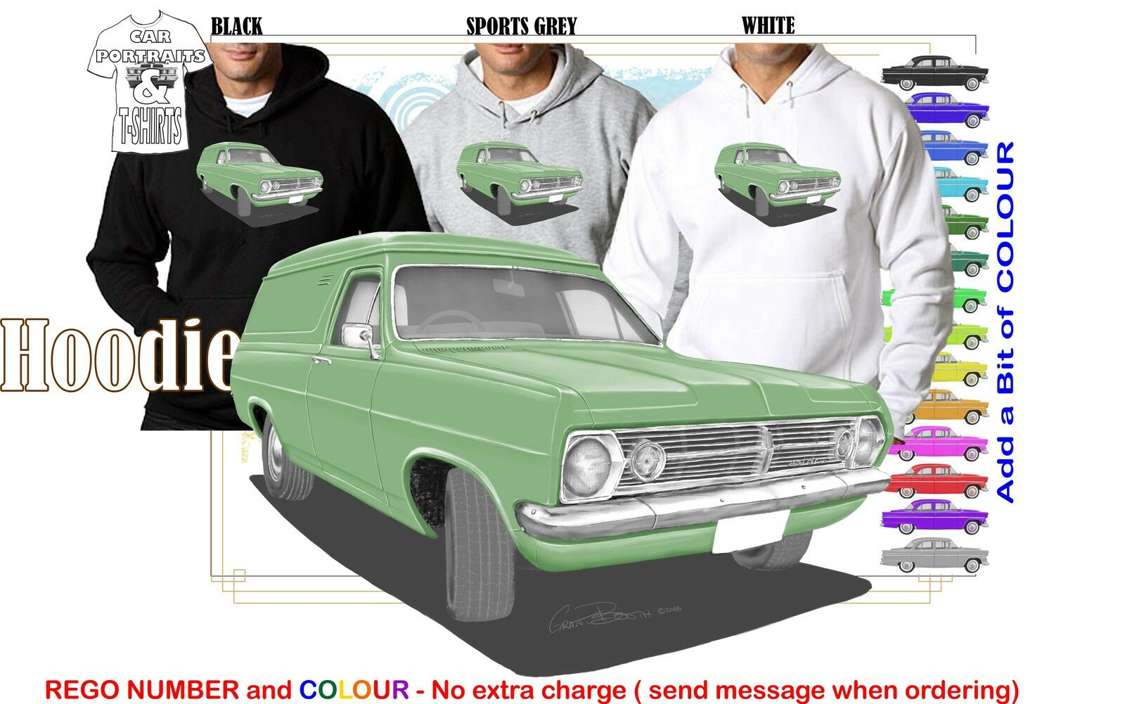 66-68 HR HOLDEN VAN HOODIE ILLUSTRATED CLASSIC RETRO MUSCLE SPORTS CAR