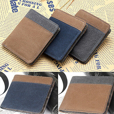 Men Short Canvas Wallet Vertical Horizontal Bifold Clutch Multi-slot Popular