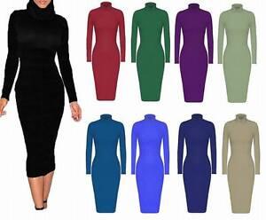 New-Ladies-Womens-Celerbity-Cowl-Roll-Turtle-Neck-Long-Sleeve-Midi-Dress-UK-8-26