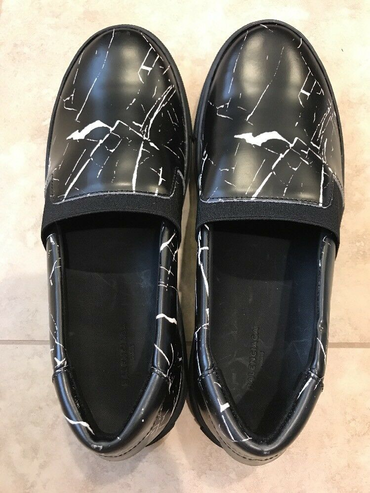 Balenciaga Men's Black Multi-material Marble Slip-on Trainers, 625, 40 US