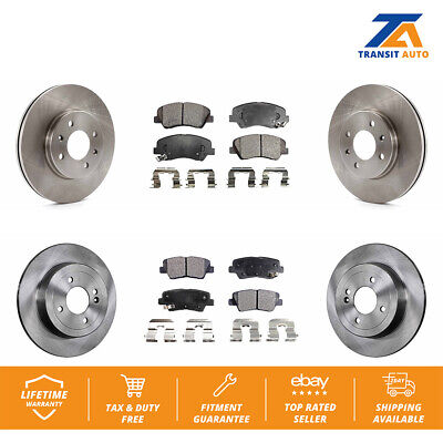 For 2006-2011 Hyundai Accent Kia Rio Front Drilled Brake Rotors Ceramic Pads