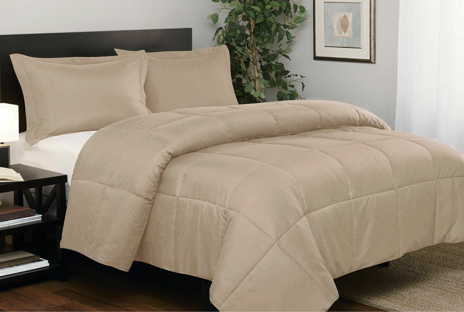 Branded Down Alternative Comforter Egyptian Cotton Taupe Solid US Twin Size
