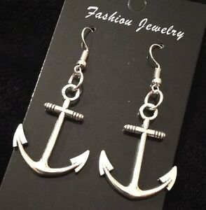f9303b63a Image is loading Large-Anchor-Earrings-Nautical-Rockabilly-Charm-Studs-Hook-