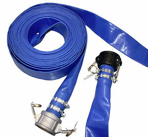 """BLUE LAYFLAT DISCHARGE PUMP HOSE ASSEMBLY WITH CAMLOCK COUPLING, 10M-50M 1""""-4"""""""