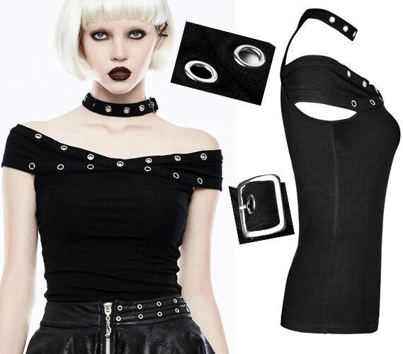 Haut t-shirt gothique punk lolita collier sangle rivet épaule nue mode PunkRave