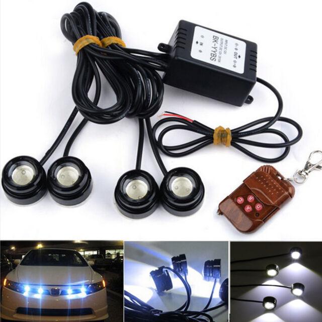4x3w Strobe Flash Eagle Eye Led Car Light Lamp Wireless Remote Control
