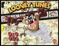 Taz Fridge Magnet. Large 4x5. Looney Tunes Film Strip Logo. Tasmanian Devil.