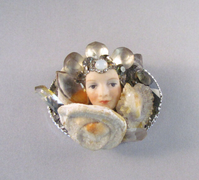 """Vintage Blyther & Snodgrass Brooch """"The Queen of the Rock Crystal Mountain"""" 1986"""