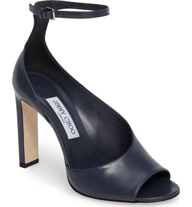 NIB Jimmy Choo Theresa 100 Blue Leather Sandals Open-toe Heels Pumps 6.5 36.5
