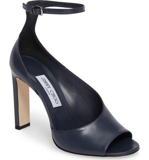 aa3e70b4751e NIB Jimmy Choo Theresa 100 Blue Leather Sandals Open-toe Heels Pumps 6.5  36.5