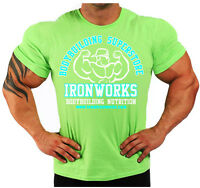 Lime Green Team Ironworks Bodybuilding T-shirt Workout Gym Clothing J-110