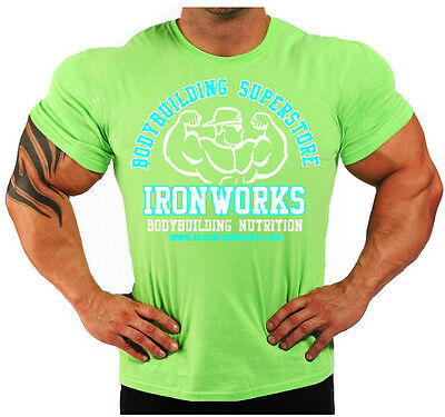 MENS COTTON LIME GREEN TEAM IRONWORKS BODYBUILDING T-SHIRT WORKOUT GYM CLOTHING
