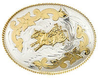 Large Western German Silver Gold Bull Riding Rider Oval Belt Buckle 5 X 3 3/4