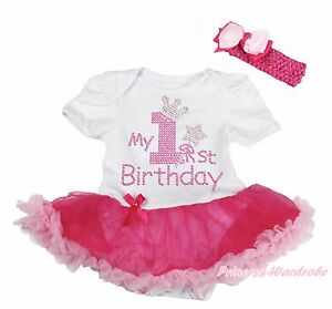 My 1ST Birthday White Bodysuit Pink Bling Sequins Girls Baby Dress Outfit NB-18M