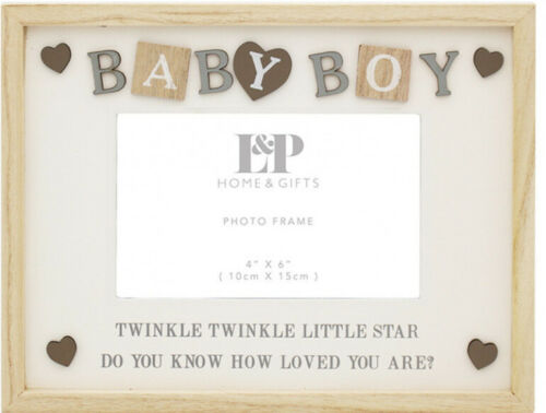 Country Chic Twinkle Little Star Baby Boy Wood Freestanding Photo Frame 25x19cm