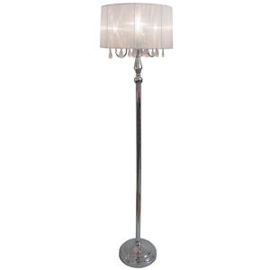 Modern Chrome Crystal Pole Floor Lamp Shade Tall Mid