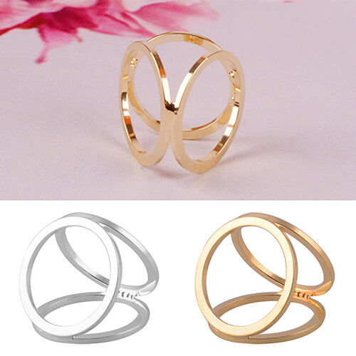 LC/_ HOT FASHION GOLD PLATED THREE RING SILK SCARF BUCKLE CLIP BROOCH PIN COMEL