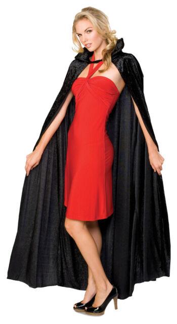 Long Black Crushed Velvet  Cape Costume Accessory