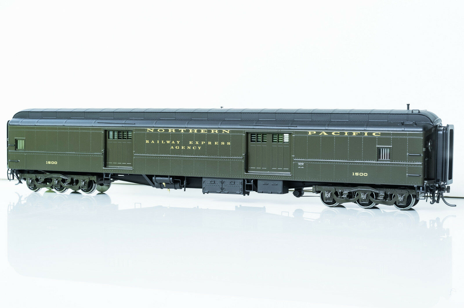 Northern Pacific baggage car Pullman verde, Brass (Display only), Rare