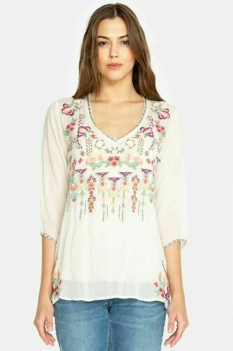 Johnny Was Nixie V-Neck 3//4 Sleeve Embroidered Top Boho Chic C15518 NEW