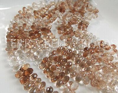 Teardrop Beads 15mm Tall 4 Madera Topaz Cut Faceted Glass A.B